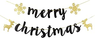 INNORU Black Glitter Merry Christmas Banner - Happy New Year Party Props Bunting - Home Holiday Decorations Sign