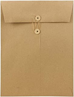 JAM PAPER 9 x 12 Open End Premium Envelopes with Button and String Closure - Brown Kraft Paper Bag - 25/Pack