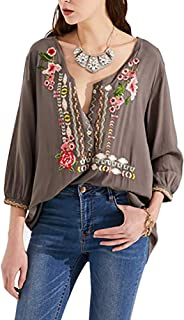 AK Women's Summer Boho Embroidery Mexican Bohemian Tops Shirt Tunic Blouses