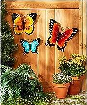Wall Art Indoor / Outdoor Metal Wall Decor Butterfly Set of 3
