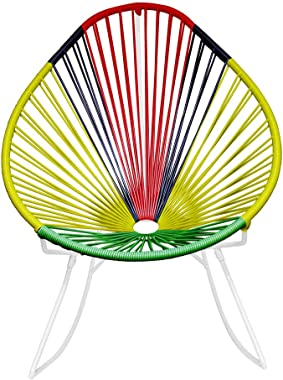 Innit Designs 03-02-25 Acapulco Rocking Chair, Africa Weave on White Frame