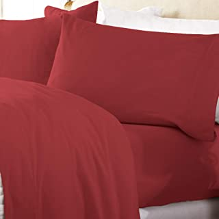 Great Bay Home Extra Soft 100% Turkish Cotton Flannel Sheet Set. Warm, Cozy, Lightweight, Luxury Winter Bed Sheets in Solid Colors. Nordic Collection (California King, Red)