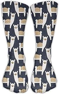 ulxjll, Medias De Compresión Imprime Alpaca Farm Spruce Blue Elastic Knee Travel Transpirable Niñas Calcetines Largos Niños Medias Divertidas Personalizadas 50Cm