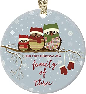 First Christmas as a Family of Three Ornament Cute Owl Family of 3 Baby Shower New Mommy & Daddy Holiday Present 3