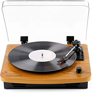 Record Player Belt Driven Vintage Vinyl Turntable 3-Speed Supporting Vinyl to MP3 Converter - Natural Wood (T202-M)