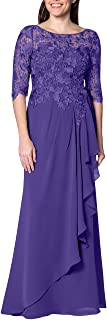 EDressy Chiffon Mother of The Bride Dresses Long Evening Formal Gowns Flora Lace Prom Party Dress Half Sleeves