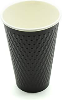 [150 COUNT] 16 Ounce Black Double-Wall Disposable Black Embossed Paper Insulated Cups - Hot Beverage Coffee Espresso Chocolate Cappuccino Latte Cocoa Tea (16 oz Cup, No Lids & Sleeves, Double-Walled)