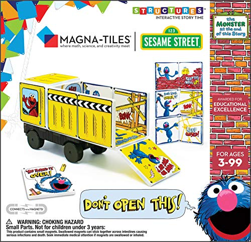 CreateOn Sesame Street Monster at The End of This Story Magna-Tiles Structure Set, Original Magnetic Building Tiles Making Learning Fun and Hands-On, Versatile Educational Toy for Kids Ages 3 Years +