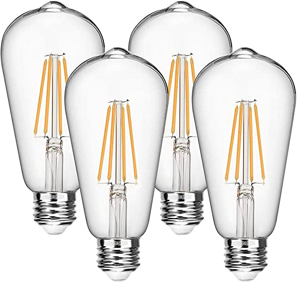 Vintage LED Edison Bulbs 60 Watt Equivalent 6W Dimmable LED Filament Light Bulb 600 Lumen Soft White 2700K ST64 Antique E26 Medium Base For Decorate Bedroom Office 4 Pack By Seaside Village