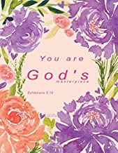 Bible Verse Journal Notebook: Purple Floral Christian Journal - You are God's masterpiece. Ephesians 2:10 (Christian Gifts For Women)