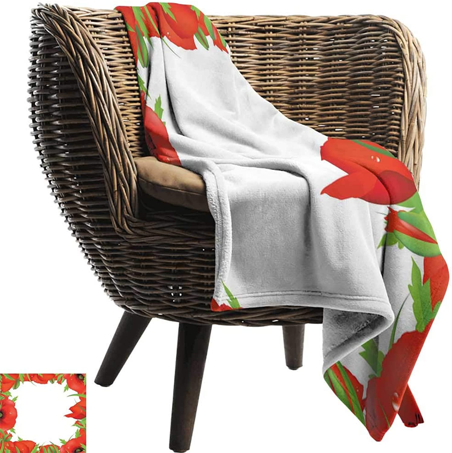 BelleAckerman Bed Blanket,Poppy,Lively Summer Meadow Frame Efflorescing Field in The Countryside Theme,Vermilion Green White,for Bed & Couch Sofa Easy Care 50 x60