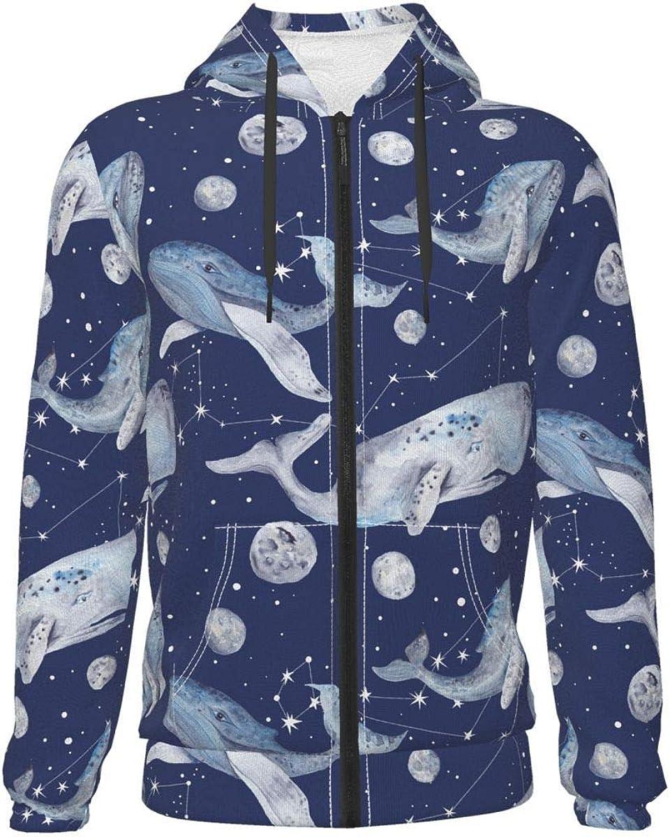 Starry Space Whale Kids & Youth Full-Zip Fleece Hoodie Boys Novelty Hooded Sweatshirt Jacket Pockets