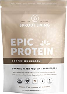 Sponsored Ad - Sprout Living Epic Protein Powder, Coffee Mushroom Flavor, Organic Plant Protein, Gluten Free, No Additives...