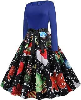 Plus Size Dress Vintage Christmas Printed Long Sleeves Dress Autumn Winter Sexy Chic Xmas Party Porm Mini Dress