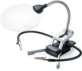 サンワダイレクト スタンドルーペ 拡大鏡 LEDライト付 クリップ対応 レンズ径11cm クリップ付アーム付属 400-LPE016