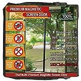 TheFitLife Cortina Mosquitera magnética para Puertas - Malla con cierre de gancho y bucle e imanes potentes que cierran instantáneamente, dejando todos los instectos fuera. (188x206cm, Negro)