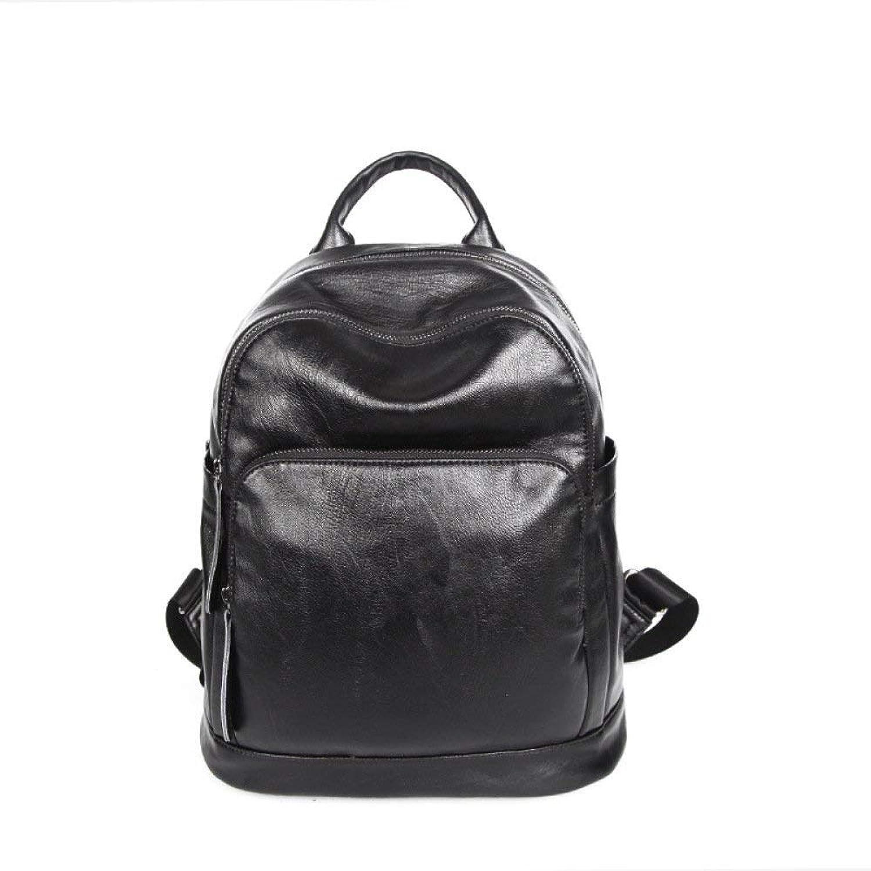Hulday Handtasche Frauen Pu Leder Rucksack Casual Schultasche Mode Rucksack Rucksack Einfacher Stil Taschen Damen Mnner Handgepaeck, (Farbe   Schwarz, Größe   30  15  30cm)