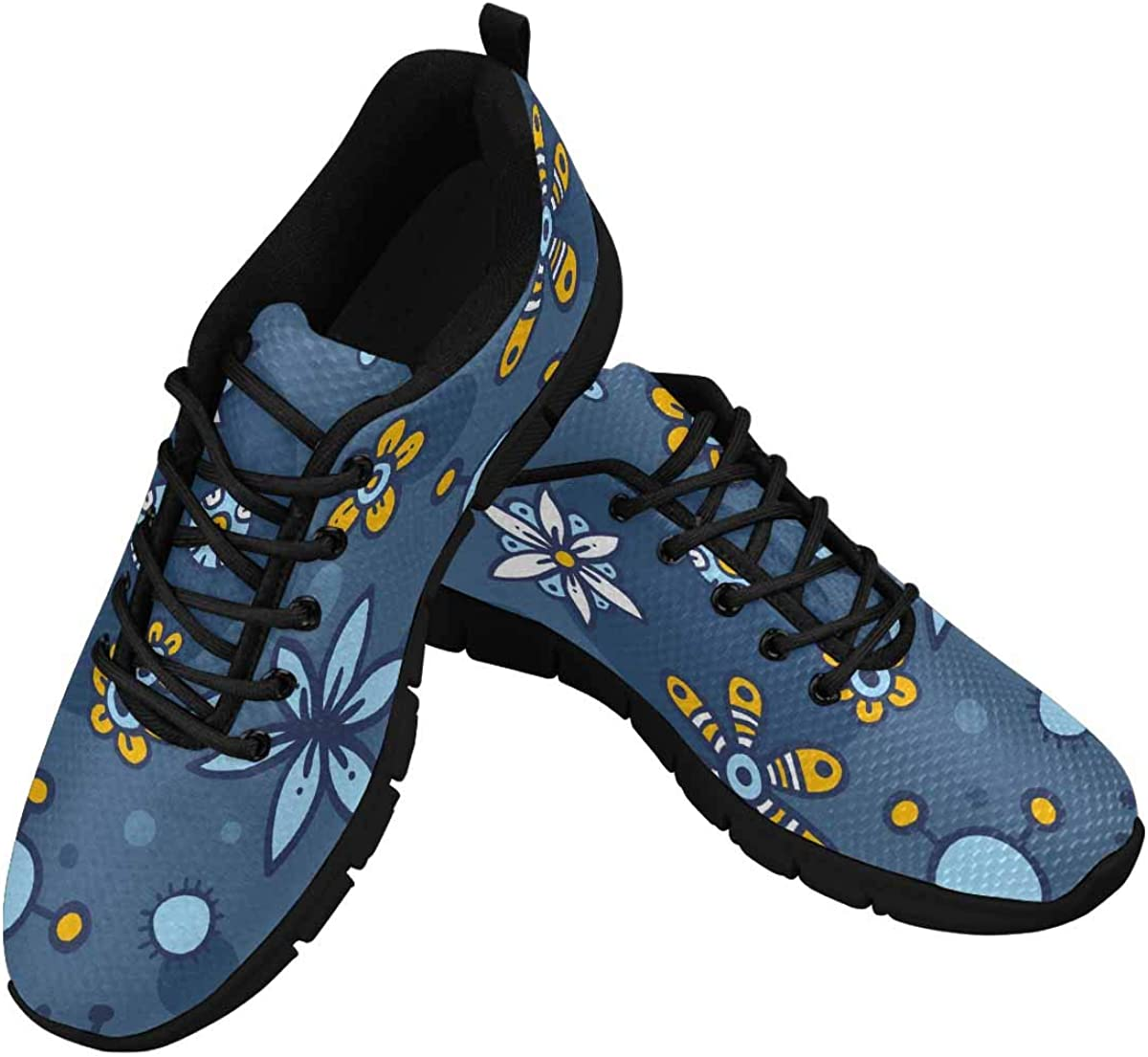 InterestPrint Blue Flowers Women's Athletic Mesh Breathable Casual Sneakers Fashion Tennis Shoes