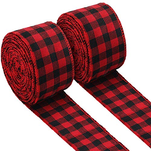 2 Rolls Buffalo Plaid Burlap Wired Ribbon Weave Ribbon with Wired Edge for Christmas Crafts Floral Bows Craft Decoration, 2.4 Inches by 315 Inches (Black and Red Plaid)