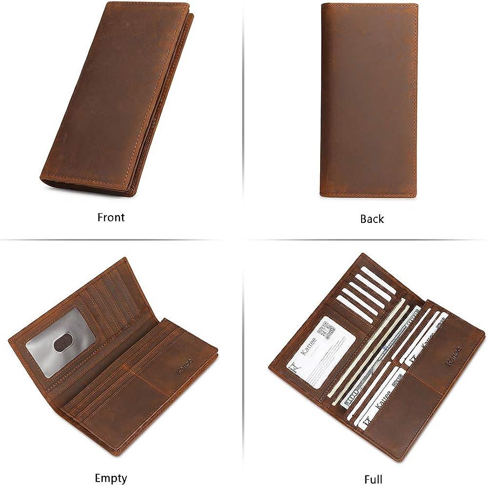 Kattee Men's Vintage Genuine Leather Long Wallet for Checkbook, Credit Cards