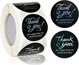 DELFINO 1.5 Inches Thank You Stickers - 500 Thank You for Supporting My Small Business Stickers, Round Foil Black Thank Yo...