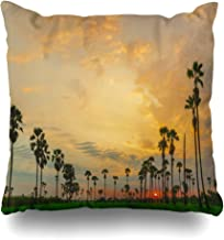 Ahawoso Throw Pillow Cover Pillowcase Square 16x16 Sunrise Morning Evening Field in Sunset Leaf Landscape Silhouette Nature Angeles Sun High Textures Decorative Cushion Case Home Decor Pillowslip