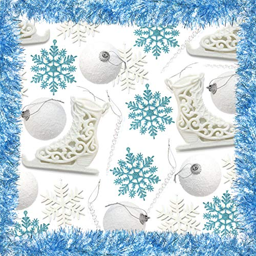 Over 30pc Snowflake Ice Theme Party Christmas Tree Home Decoration Set - 6m Tinsel, 6 x Blue Snowflake, 6 x White Snowflake, 8 x Snowball Baubles, 4 x Ice Skate and 12 Icicles