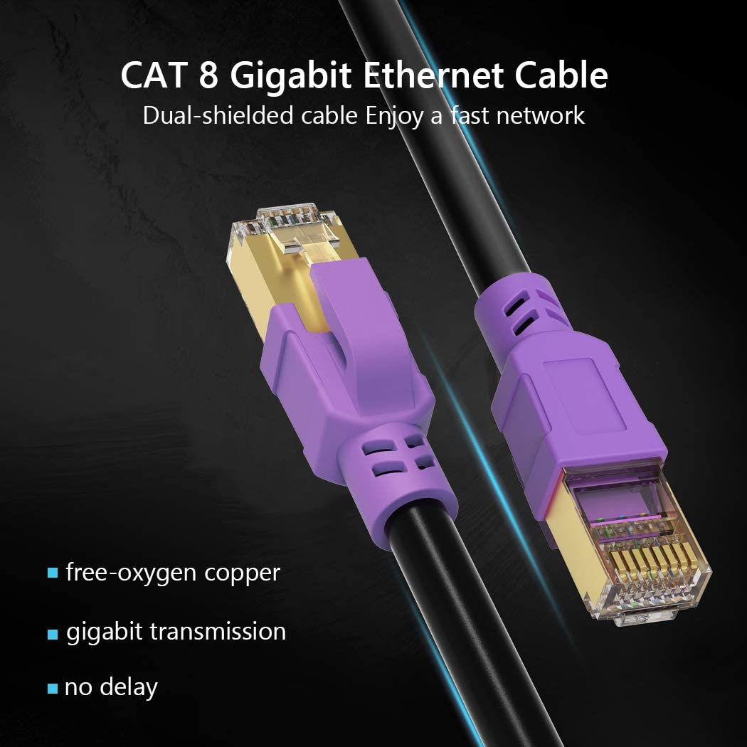 Cat 8 Ethernet Cable 1.5 ft JewMod Ethernet Cable Cat8 Outdoor Indoor 26AWG Heavy-Duty Cat8 Waterproof Direct Burial Ethernet Cable 40Gbps 2000MHz LAN Network RJ45 Cable for Router,Modem,PC,Gaming