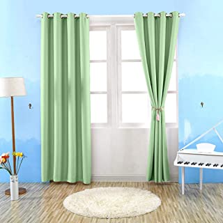 Goolsky Thermal Insulated Solid Grommet Blackout Curtains Drape for Living Room (Green,1Panel,39x98in)