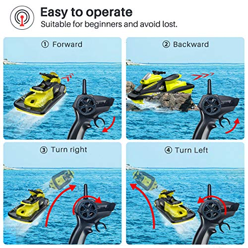 Syma 2.4GHz RC High Speed Boat Remote Control Watercraft for Pools, Lakes and Outdoor Electric Race Q10 RC Moto Boat…
