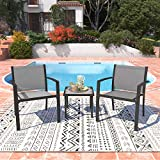 Garden Furniture Set 2 Seater, Indoor Outdoor Dining Table Chair Sofa Sets, 2 Armchairs   Glass Coffee Table for Patio, Backyard, Poolside, Terrace (Light Grey)