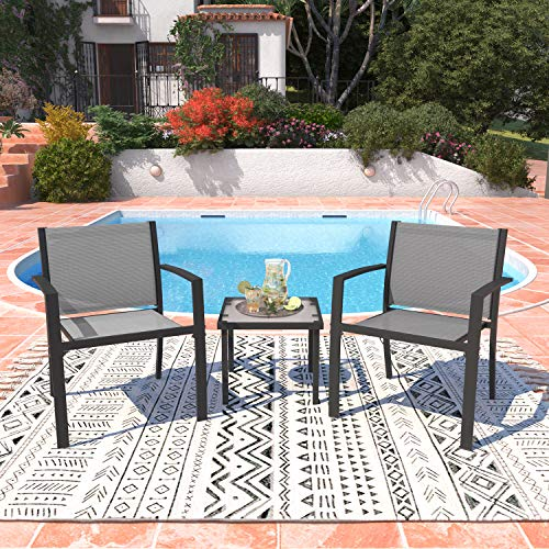 Garden Furniture Set 2 Seater, Indoor Outdoor Dining Table Chair Sofa Sets, 2 Armchairs + Glass Coffee Table for Patio, Backyard, Poolside, Terrace (Light Grey)