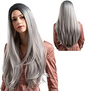 Hamkaw Grey Lace Front Wigs for Women, 23 Inches Ombre Black Rooted Silver White Long Straight Synthetic Fiber Wig - Natural Look Ultra Soft Heat Resistant Middle Part Wig Party Cosplay Day Use