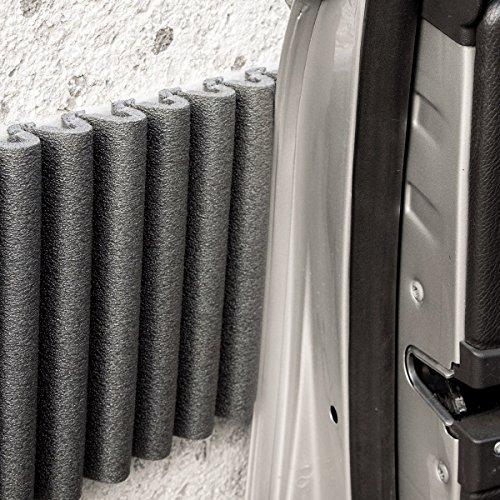 Wall Bumper Leggero Design | Parachoques de garaje para proteger las puertas del automóvil | Juego de 2 tiras adhesivas amortiguadoras, repelentes al agua | Cada ≈ 17 cm x 1.35 m. Color: negro