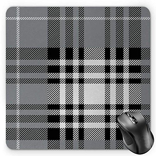 BGLKCS Checkered Mouse Pad by, Old Fashioned Plaid Tartan in Dark Colors Classic English Tile Symmetrical, Standard Size Rectangle Non-Slip Rubber Mousepad, Grey Black White