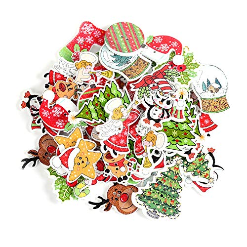Christmas Wood Buttons, 100 Pcs Mixed Craft Buttons with 2 Holes, Christmas Tree, Reindeer, Santa Claus Wooden Button for Sewing Crafting DIY Craft Card Making Embellishments Christmas Decoration (A)
