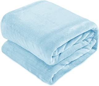"MARQUESS Flannel Plush Throw Blanket, Super Soft, Cozy, Plush Blanket for Bed or Couch - Fuzzy Flannel Blanket for Bedroom, Living Room and Travel, All Season Use (Ice Blue, 104""×92"")"