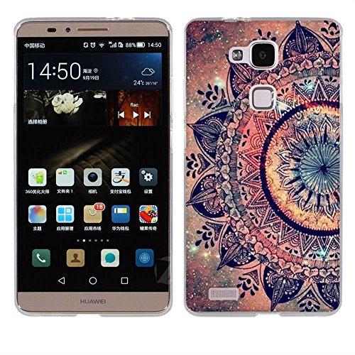 FUBAODA für Huawei Ascend Mate 7 Hülle, [Mandala Blume] Kratzfeste Plating TPU Case für Huawei Ascend Mate 7 Case Schutzhülle Silikon Crystal Case Durchsichtig für Huawei Ascend Mate 7