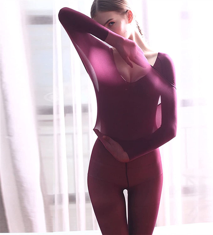 XIAOSEN Constant Temperature Thermal Underwear Women's Ultra-Thin High Elastic Slim Body Heating Silk 80-140 Kg (Color : Burgundy, Size : M)