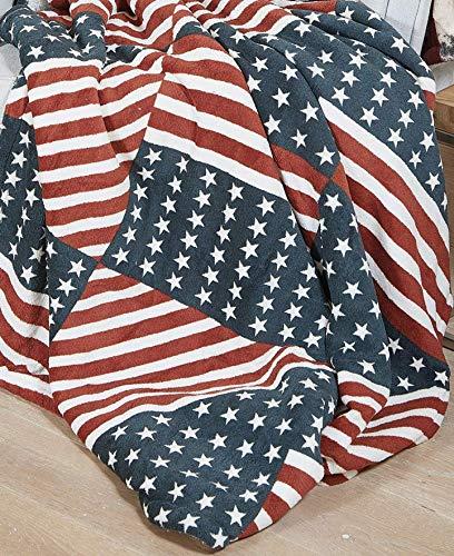 GoldenHome Plaid Pile AGNELLATO 130 x 160 cm Bandiera USA - Idea Regalo Natale