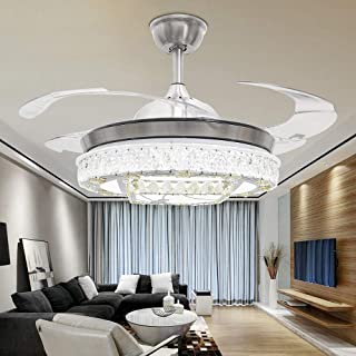TiptonLight Modern Crystal Ceiling Fan Lamp Folding Ceiling Fans with Lights Silver Chandelier Fan With Light Dining Room Decorative Remote Control