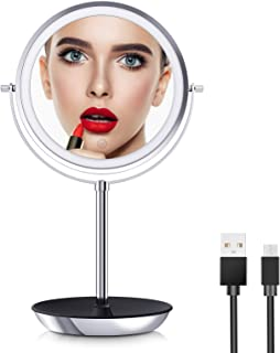 O'Vantage Rechargeable Makeup Mirror with Lights 1X 10X Magnification Double-Sided Swivel with 54 Pcs Medical LED Lights, ...
