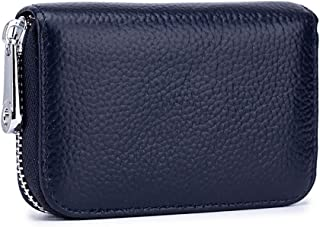 RFID Credit Card Holder Genuine Leather Credit Card Wallet with Zipper