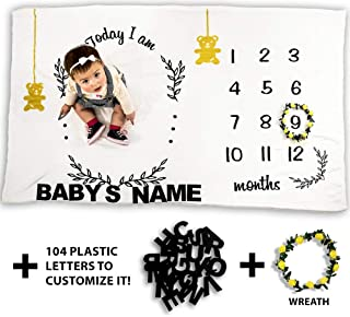 BebeSmiles Baby Monthly Milestone Blanket, Includes 104 Alphabet Letters and Wreath, Customizable Photography Background Prop for Boys and Girls, Premium Flannel Fleece Extra Soft
