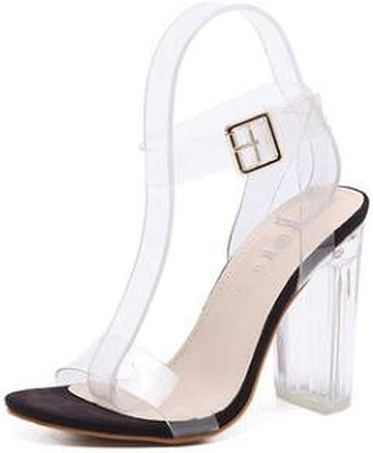 Women Sandals Buckle Strap Luxurious Transparent PVC High Heel Sexy Summer Sandals Square Heels