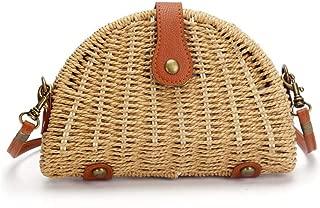 Crossbody Straw Bag,Womens Rattan Woven Handbag Straw Shoulder Bag for Beach Travel