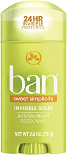 Ban Sweet Simplicity 24-hour Invisible Antiperspirant, Solid Deodorant for Women and Men, Underarm Wetness Protection, wit...