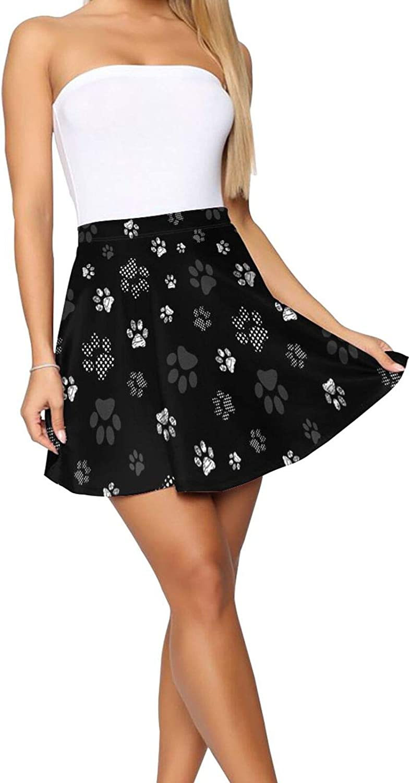 Grey and Black Paw Prints Women's Skater Skirt Elasticity Short Skirt