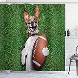 NR Duschvorhang,Sport-Fußball-Hund, der einen Rugby-Ball hält und lautes lustiges Comic-Witz-Bild auslacht,Badvorhang Badezimmer Hochwertig mit Haken Set Wasser Resistent 180 x 180 cm