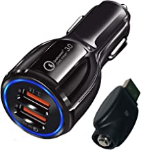 510 Thread Charger with Car Charger 5V 3.1A QualComm Quick Charge Dual USB Fast Charging 3.0 + 2.4A Smart Charge-Compatible with iPhones & Galaxy Models and More